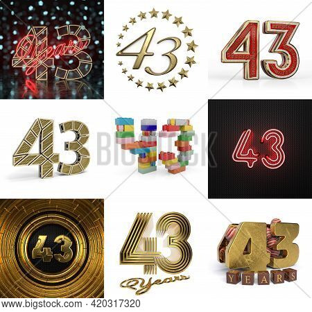Set Of Forty-three Year Birthday. Number 43 Graphic Design Element. Anniversary Number Template Elem