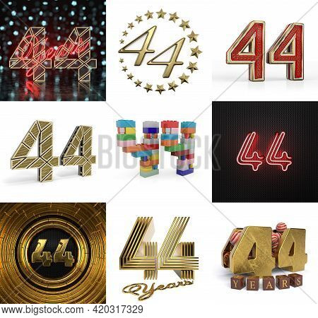 Set Of Forty-four Year Birthday. Number 44 Graphic Design Element. Anniversary Number Template Eleme