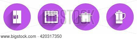 Set Refrigerator, Oven, Cooking Pot And Teapot Icon With Long Shadow. Vector