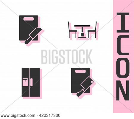 Set Cutting Board And Meat Chopper, Knife, Refrigerator And Wooden Table With Chair Icon. Vector