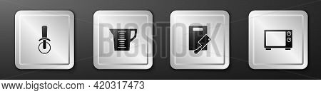 Set Pizza Knife, Measuring Cup, Cutting Board And Meat Chopper And Microwave Oven Icon. Silver Squar