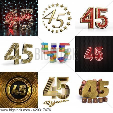 Set Of Forty-five Year Birthday. Number 45 Graphic Design Element. Anniversary Number Template Eleme