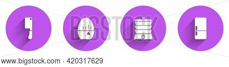 Set Meat Chopper, Kitchen Timer, Slow Cooker And Refrigerator Icon With Long Shadow. Vector