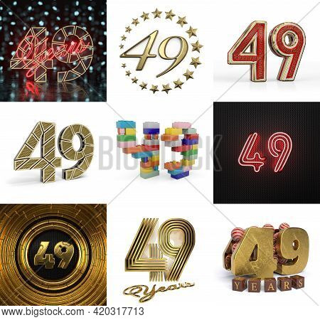 Set Of Forty-nine Year Birthday. Number 49 Graphic Design Element. Anniversary Number Template Eleme