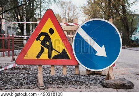 Road Signs. Road Works. Replacement Of The Road Surface.