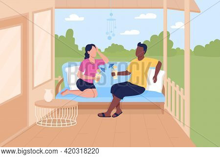 Friends Meeting On Patio Flat Color Vector Illustration. Outdoor Meeting Space. Enjoying Summer Days