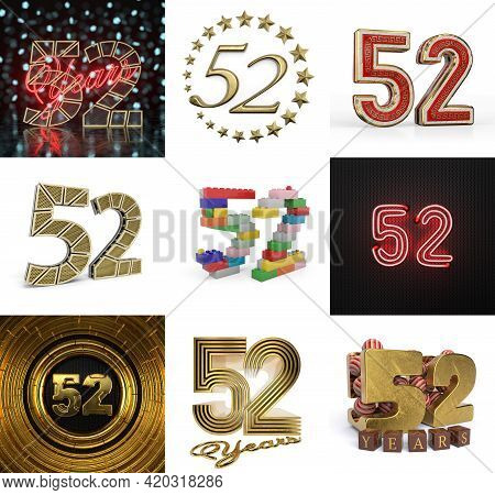Set Of Fifty-two Year Birthday. Number 52 Graphic Design Element. Anniversary Number Template Elemen
