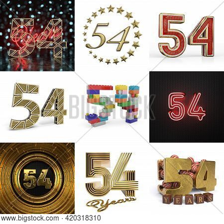 Set Of Fifty-four Year Birthday. Number 54 Graphic Design Element. Anniversary Number Template Eleme