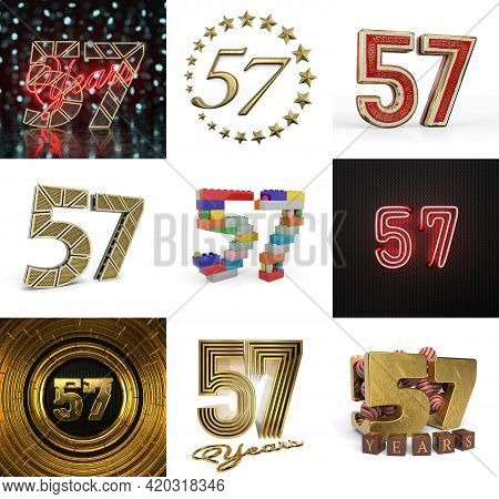 Set Of Fifty-seven Year Birthday. Number 57 Graphic Design Element. Anniversary Number Template Elem