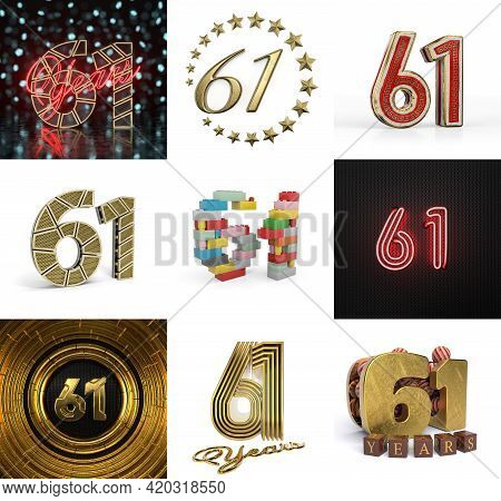 Set Of Sixty-one Year Birthday. Number 61 Graphic Design Element. Anniversary Number Template Elemen