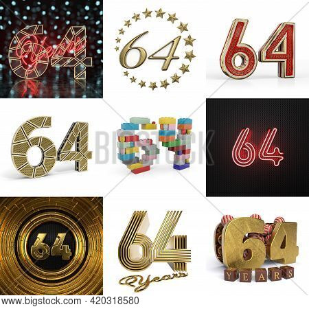 Set Of Sixty-four Year Birthday. Number 64 Graphic Design Element. Anniversary Number Template Eleme