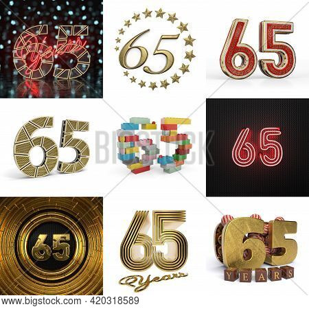Set Of Sixty-five Year Birthday. Number 65 Graphic Design Element. Anniversary Number Template Eleme