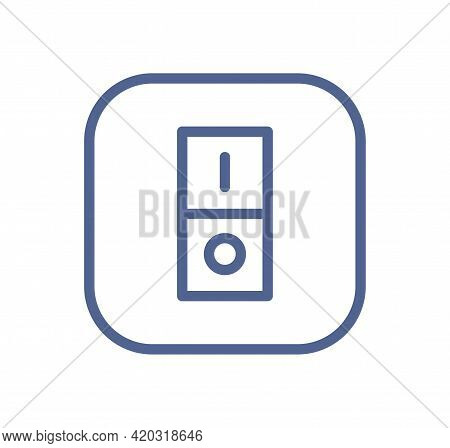 Electric Light Switch Icon With One Button. On And Off Wall Switcher Sign In Line Art Style. Lineart