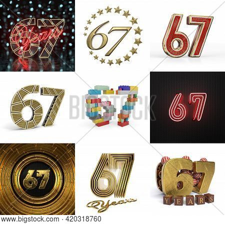 Set Of Sixty-seven Year Birthday. Number 67 Graphic Design Element. Anniversary Number Template Elem
