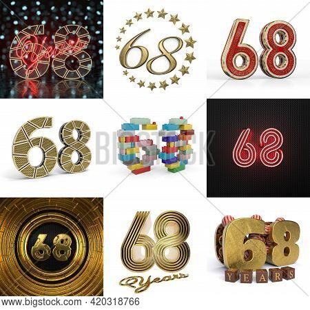 Set Of Sixty-eight Year Birthday. Number 68 Graphic Design Element. Anniversary Number Template Elem