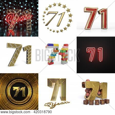Set Of Seventy-one Year Birthday. Number 71 Graphic Design Element. Anniversary Number Template Elem