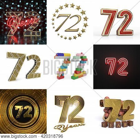 Set Of Seventy-two Year Birthday. Number 72 Graphic Design Element. Anniversary Number Template Elem