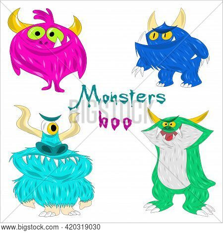 Collection Of Furry Comic Monsters. Colored Yeti Or Goblins For Halloween Or Party