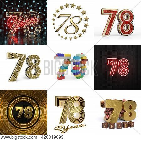 Set Of Seventy-eight Year Birthday. Number 78 Graphic Design Element. Anniversary Number Template El