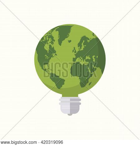Earth Globe Lightbulb Icon Flat Design. Environment Concept. Vector Illustration