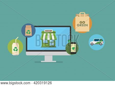 Shopping Eco Products Onliine. Vector Illustration. Graphic Design