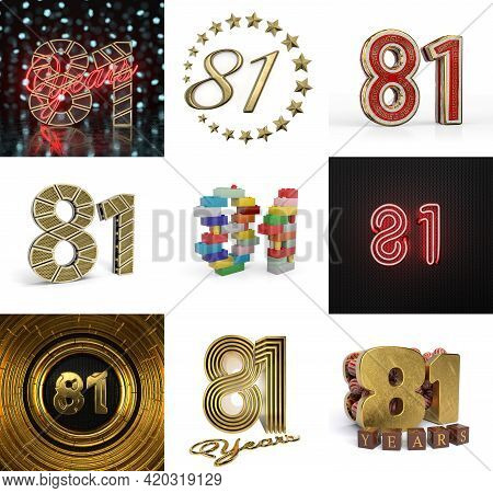 Set Of Eighty-one Year Birthday. Number 81 Graphic Design Element. Anniversary Number Template Eleme