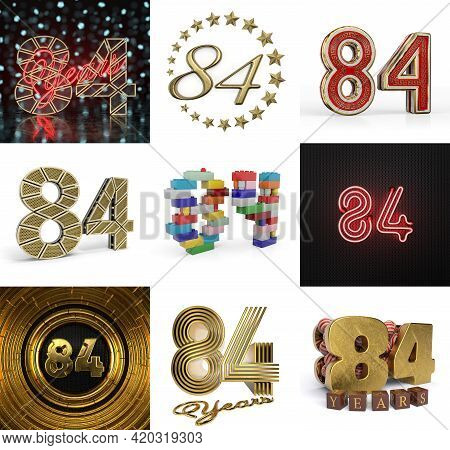 Set Of Eighty-four Year Birthday. Number 84 Graphic Design Element. Anniversary Number Template Elem
