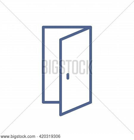 Open Door Icon In Line Art Style. Lineart Doorway Pictogram Isolated On White Background. Entry, Wel