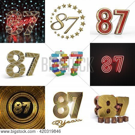 Set Of Eighty-seven Year Birthday. Number 87 Graphic Design Element. Anniversary Number Template Ele