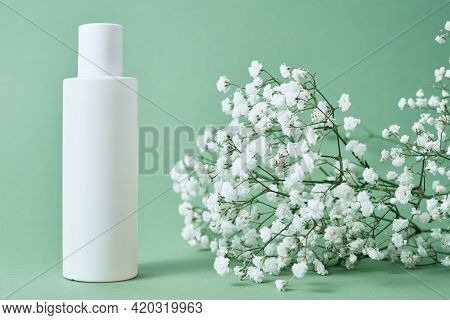 Beaty Product Package. Cosmetic Bottle On Pastel Green Background With Plant Leaves. Cosmetics Mock