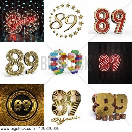 Set Of Eighty-nine Year Birthday. Number 89 Graphic Design Element. Anniversary Number Template Elem