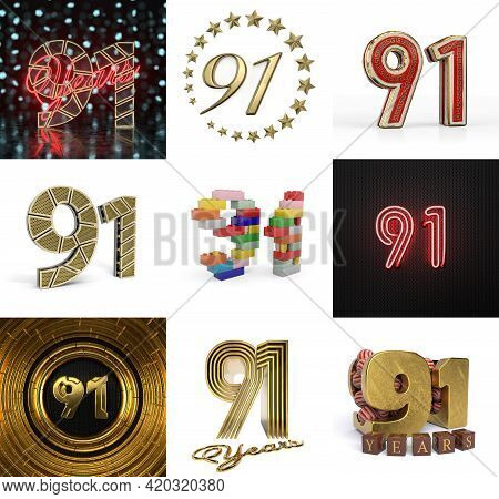 Set Of Ninety-one Year Birthday. Number 91 Graphic Design Element. Anniversary Number Template Eleme