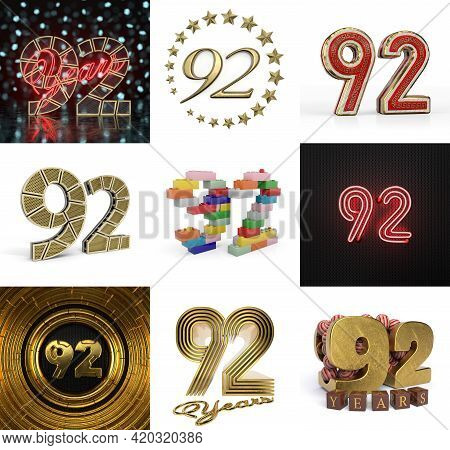 Set Of Ninety-two Year Birthday. Number 92 Graphic Design Element. Anniversary Number Template Eleme