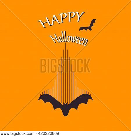 Halloween Greeting Card Template With Bats. Abstract Helloween Pattern For Greeting Card, Party Invi