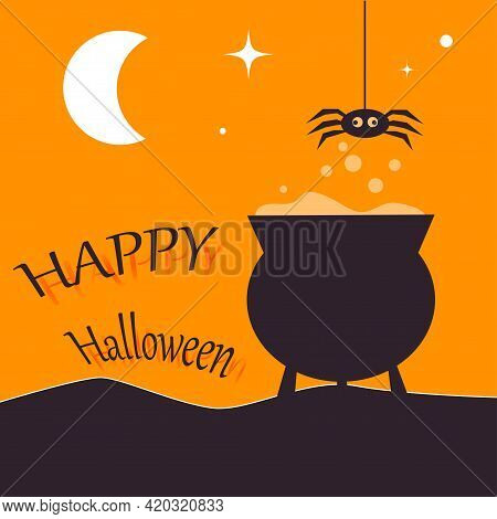 Happy Halloween Card Template With Cauldron And Spider But Night Starry Background. Abstract Hellowe