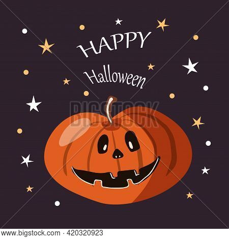 Halloween Party Card Template. Abstract Helloween Pumpkin On Purple Background For Greeting Card Des