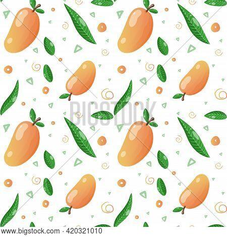 Mango Seamless Pattern Background. Exotic Fruit Endless Texture For Fabric, Textile, Menu Etc. Vecto