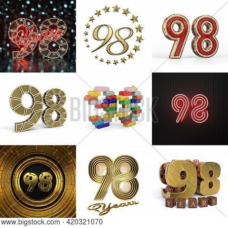 Set Of Ninety-eight Year Birthday. Number 98 Graphic Design Element. Anniversary Number Template Ele