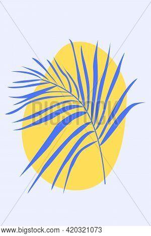 Palm Leaf In Boho Style. Minimalist Abstarct Fashion Artwork For Design T Shirt, Bag, Card, Invitati
