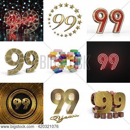 Set Of Ninety-nine Year Birthday. Number 99 Graphic Design Element. Anniversary Number Template Elem