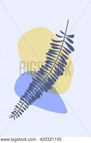 Fern Leaf In Boho Style. Minimalist Abstract Fashion Artwork For Design T Shirt, Bag, Card, Invitati