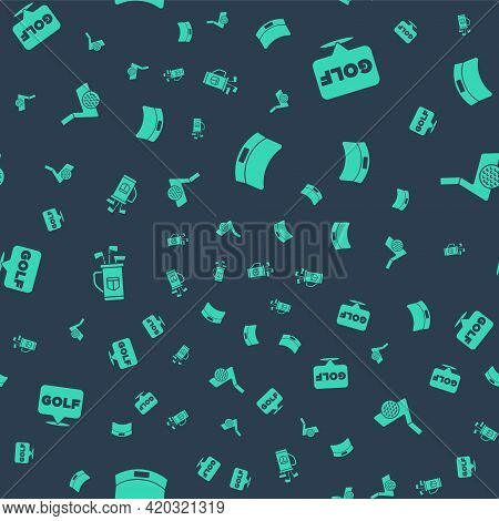 Set Sun Visor Cap, Golf Label, Bag With Clubs And Ball On Seamless Pattern. Vector