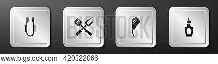 Set Meat Tongs, Crossed Fork And Spatula, Rib Eye Steak And Sauce Bottle Icon. Silver Square Button.