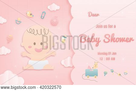 Vector Illustration For Baby Boy Shower Card On Pink Background, Cute Design Papercraft Babysitting