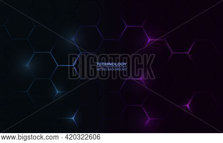 Dark Hexagonal Technology Abstract Vector Background With Blue And Pink Colored Bright Flashes Under