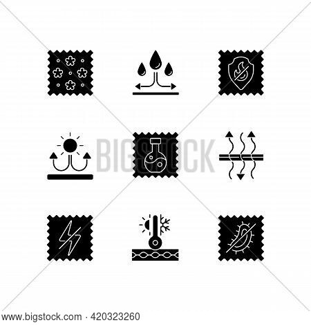 Fabric Properties Black Glyph Icons Set On White Space. Water Repellent. Breathable, Antistatic, Ant