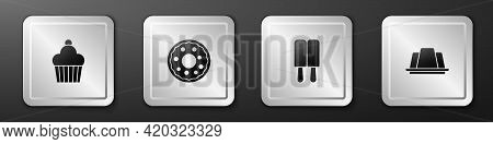 Set Cake, Donut, Ice Cream And Jelly Cake Icon. Silver Square Button. Vector