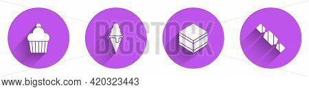 Set Cake, Ice Cream In Waffle Cone, Brownie Chocolate Cake And Candy Icon With Long Shadow. Vector