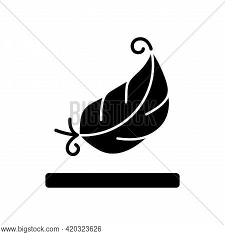 Lightweight Fabric Property Black Glyph Icon. Feather Symbol For Pillows And Blankets. Special Soft
