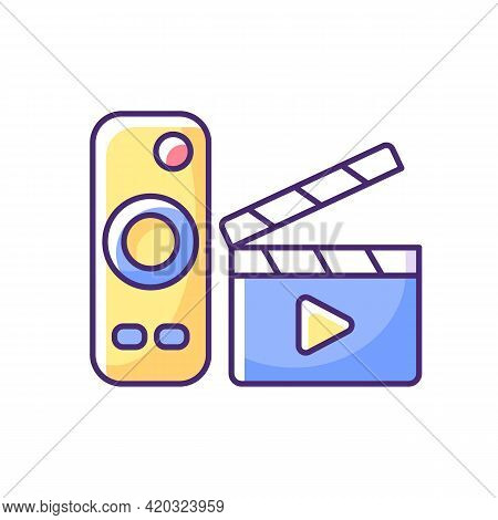 Movies Streaming Rgb Color Icon. Moving Picture On Television. Tv Shows Online. Theatre-style Movie